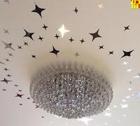 31/52/84 pcs/set Mirror Stars Shape Wall Sticker Acrylic Silver Home Decals Ceiling Deocration Removable Mirror Sticker for Room