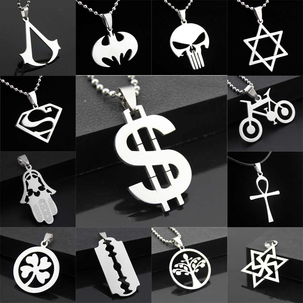 Wholesale Lots Style Fashion Women Men Pendant Necklace Chain Silver Stainless Steel Bicycle Skull Tree New Jewelry Gift
