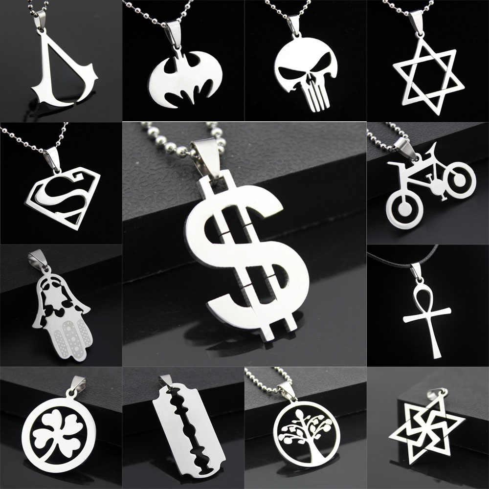 Оптовая продажа, много стильных модных женских и мужских подвесок, серебряная цепочка из нержавеющей стали, для велосипеда, черепа, дерева, новое ювелирное изделие, подарок