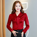 Women Tie Front Red Blouses With Bow Fashion Long Sleeve Satin Tops Korean Style Female Office ruffle Shirts Elegant Design
