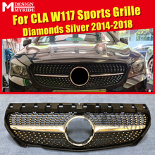 For W117 mesh ABS Sliver Without emblem Diamond grille Benz CLA180 CLA200 CLA250 CLA45 Front Grille 2014-18
