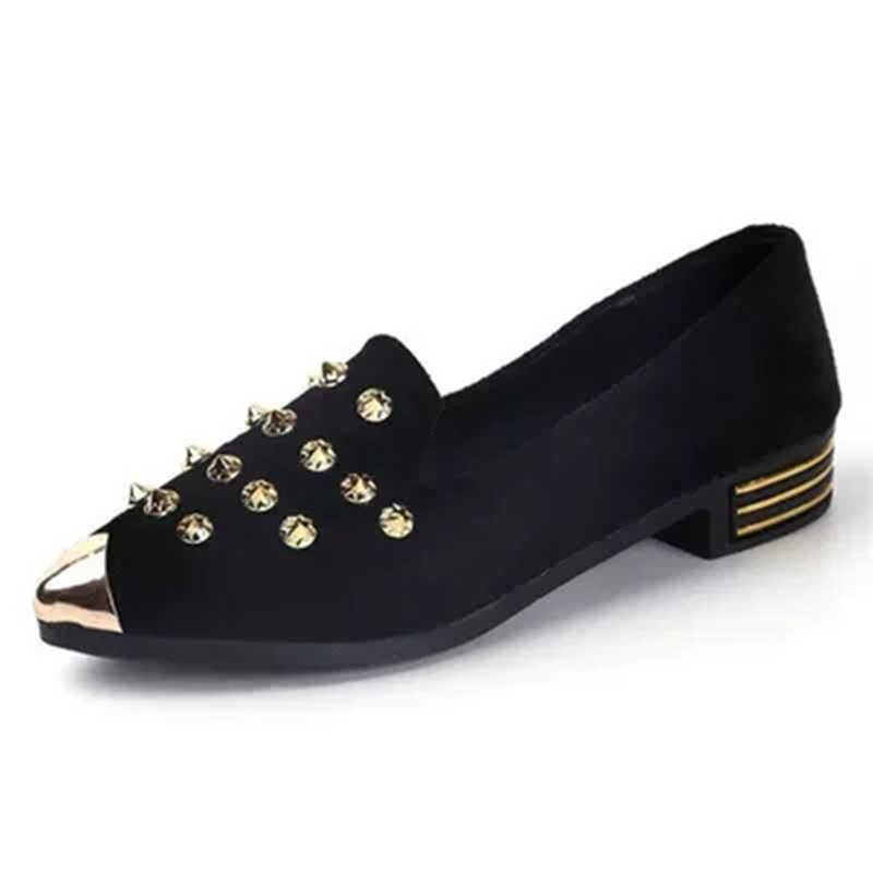 688c2edf03 New Women Flats Golden Studs Shoes Pointy Toe Loafers Fashion Metal Ballerina  Ballet Flat Slip On