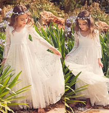 2019 New Beach Flower Girl Dresses White Ivory Boho First Communion Dress For Little Girl V-Neck Long Sleeve A-Line Cheap Kids