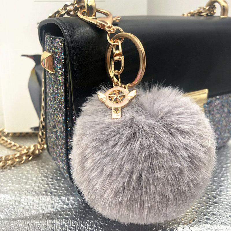 Pink Fairy Wand Keychain Pompom Avengers Key Chains Jewelry Fur Ball Key Chain Fluffy Pom Pom Keyring For Women Car Bag Key Ring