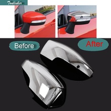 Tonlinker 2 Pcs Car Styling ABS Chrome Reversing Mirror Protection Shield Cover Case stickers for Ford Ecosport 2013 Accessories