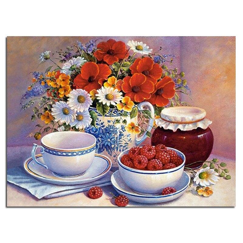 Fleurs, Fruits 40 x 30 Needlework diamant broderie peinture décoration diamant mosaïque motif carré plein peinture de diamant