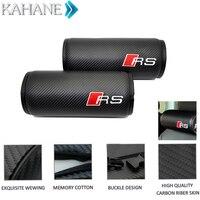 1pair Car Carbon Fiber PU Leather Leather Round Neck Pillow Head Rest Cushion Headrest For Audi