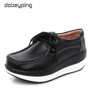 Image 4 - Dobeyping אמיתי עור אישה נעלי פלטפורמה שטוחה נשים נעלי מוקסינים נשים נעלי טריז נקבה סניקרס גבירותיי הנעלה
