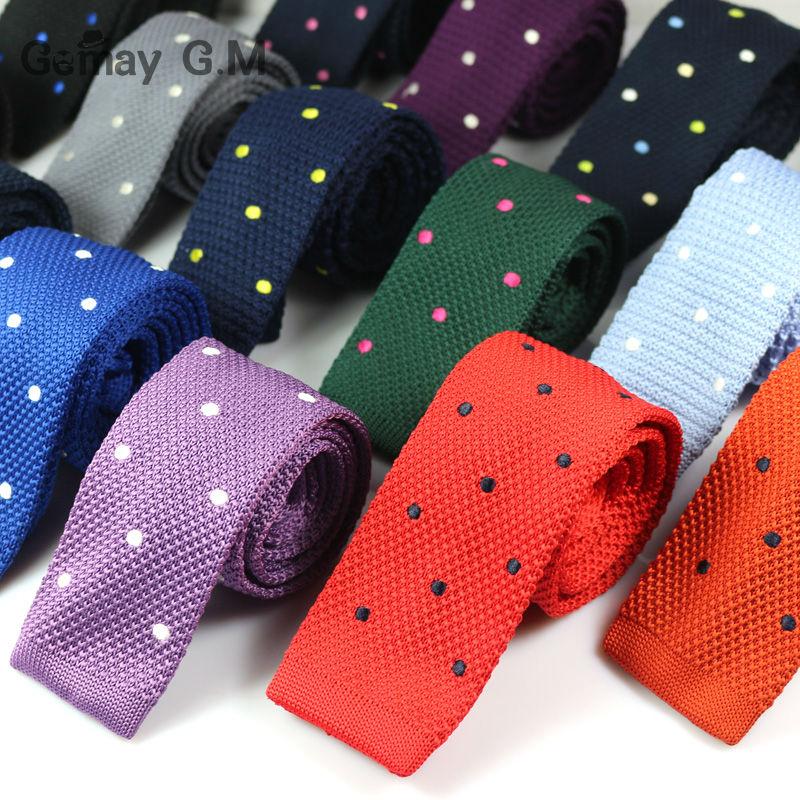 नई पुरुषों की बुना हुआ बुना हुआ पतली नेकटाई क्लासिक डॉट्स शादी के पुरुष ब्रांड वसंत आकस्मिक टाई के लिए फैशन प्लेड मैन टाई टाई