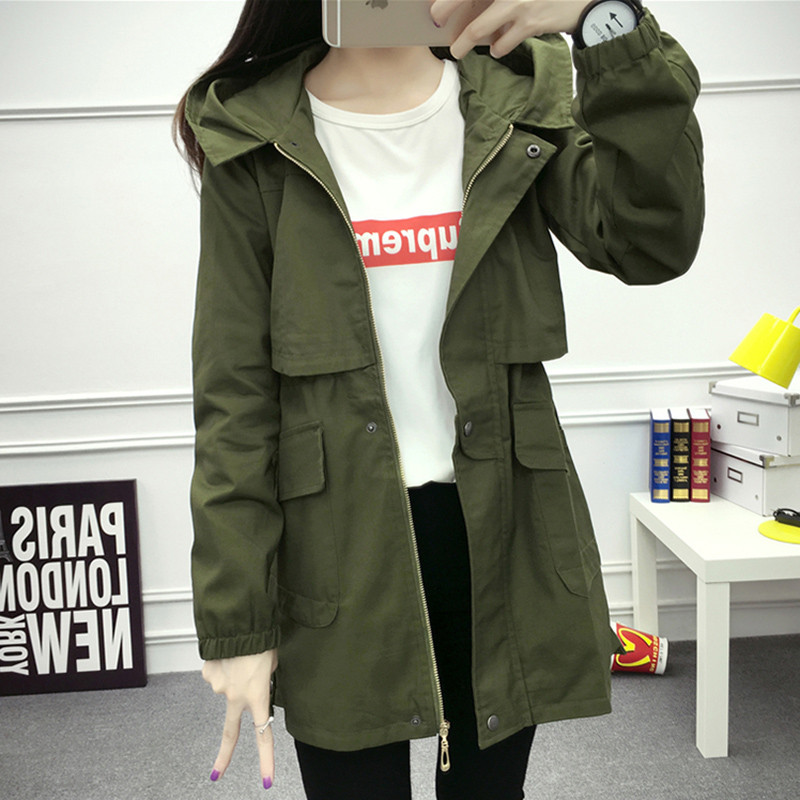 2019 Army Green   Trench   Coat Women Spring Autumn Thin Cotton Long Windbreakers Female Elegant Slim Black Korean Hooded Clothing