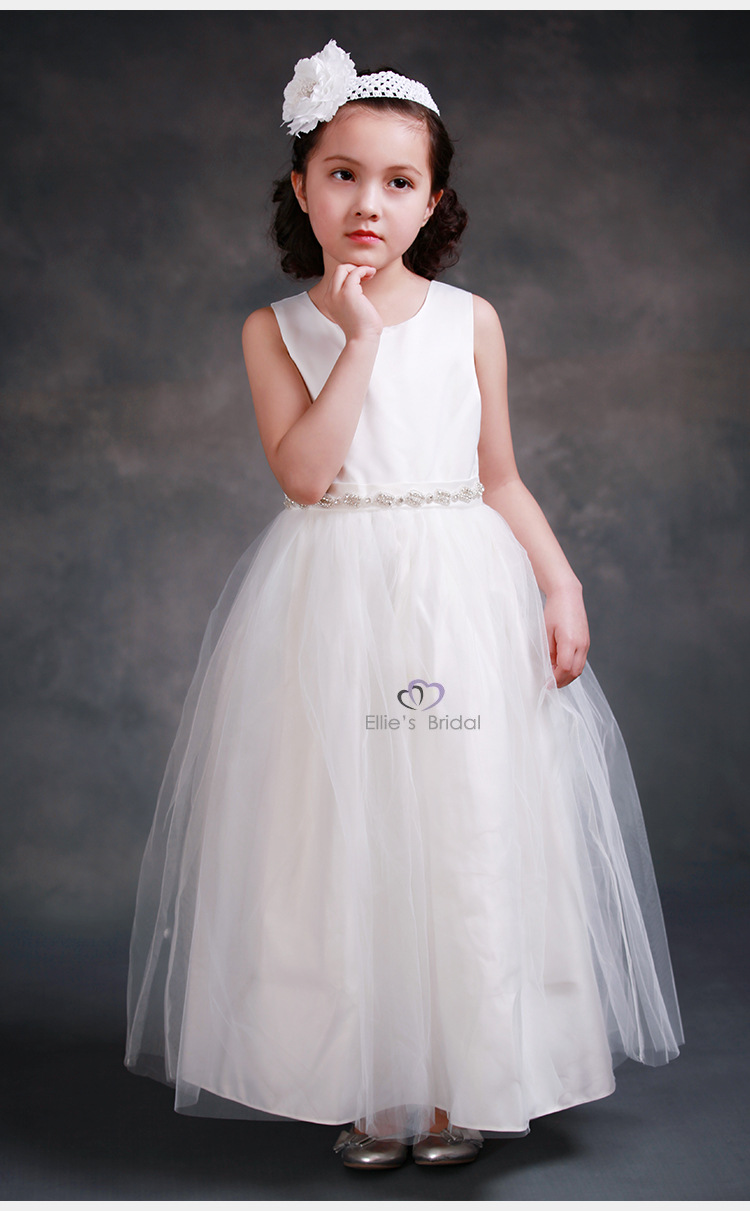 White Flower Girls Dresses For Wedding Gowns Long Spring Pretty Flower Girls Dresses A-Line Kids Evening Mother Daughter Dresses