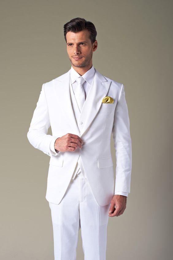 2017 Latest Coat Pant Design White Tuxedo jacket Prom Men Suit ...