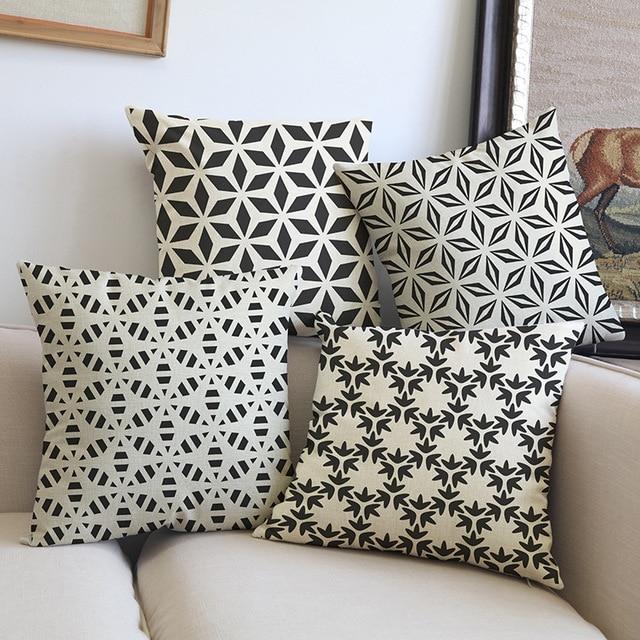 Perfekt Schwarz Mit Grau Weiß Farbe Gewebt Geometrische Malerei Kissenbezug  Kissenbezug Sofa Auto Büro Dekoration Geschenk Cojines