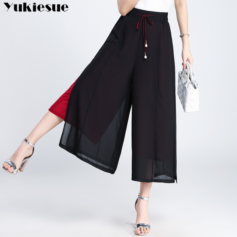 patchwork   wide     leg     pants   & capris for women streetwear   pant   women's trousers OL office chiffon casual   pants   female Plus size