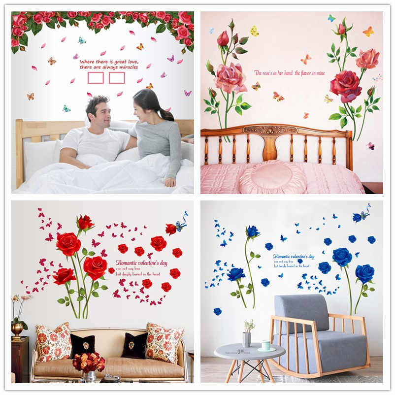 ae0fd6dfb %Vinyl Romantic Rose Flower Love 3d Wall Sticker Home Decor Living Room  Bedroom kitchen butterfly