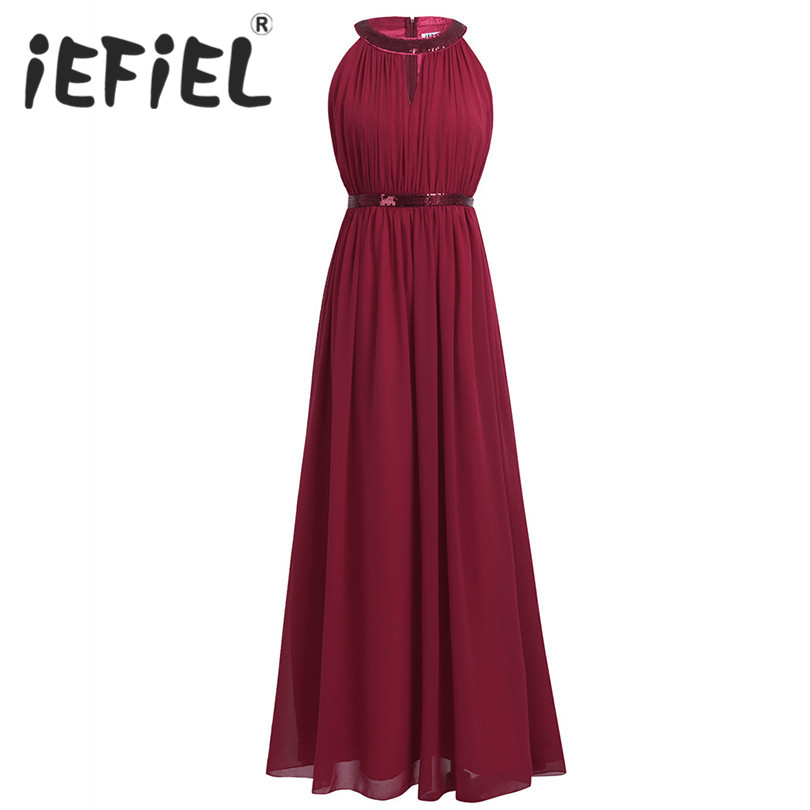 iEFiEL Women Ladies Halter Bridesmaid Elegant Floral Lace Chiffon Dress Floor Length Women Party Maxi Formal Occasion Dress