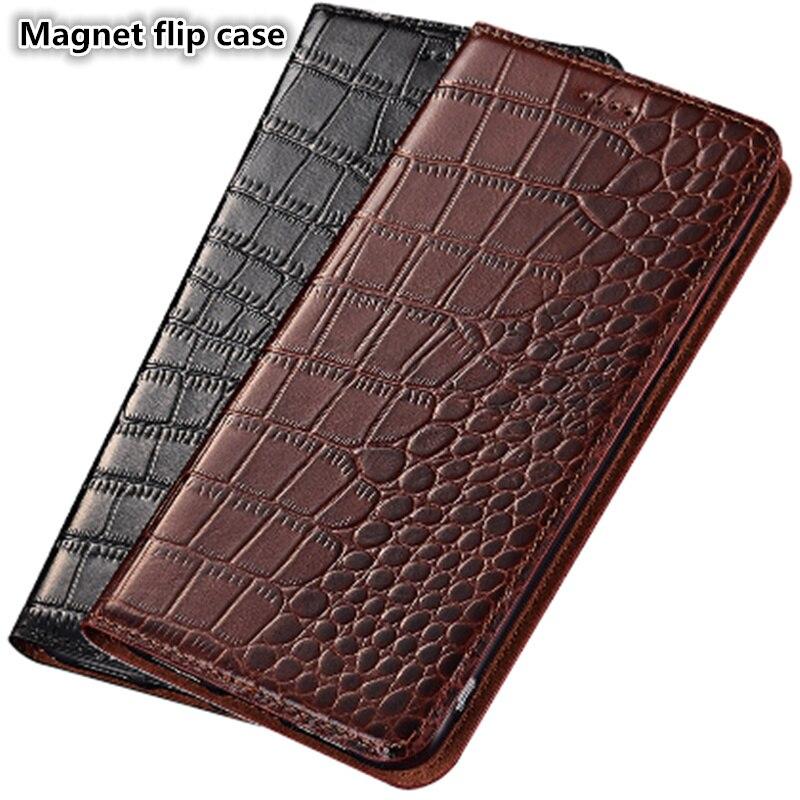 ZD13 Crocodile pattern genuine leathter magnet phone case for font b OnePlus b font font b