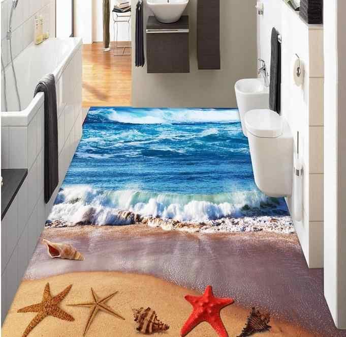 Luxe 3d peinture au sol papier peint personnalisé plage bleu vagues 3d revêtements de sol papiers muraux décor à la maison vinyle plancher photo papier peint