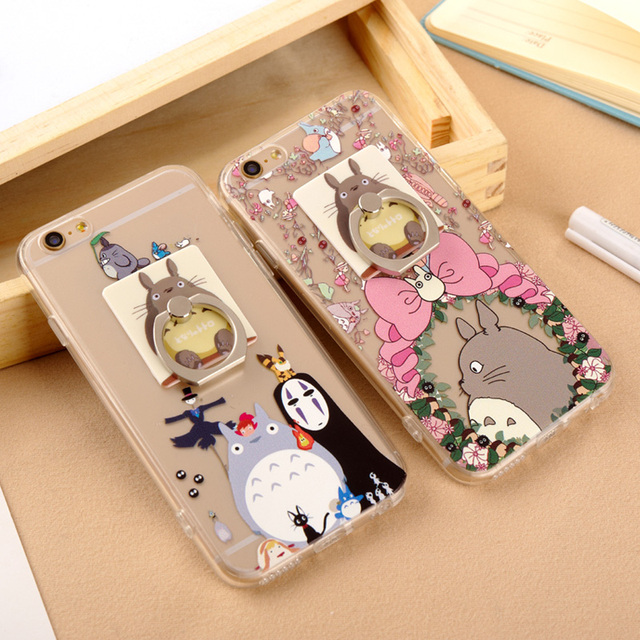 Totoro design case with metal ring support for Iphone