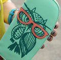 Women Wallets leather female Cute Owl Glasses Hit Color Printing Korean Rounded Zipper Long Ladies' Clutch Card Girl Purse