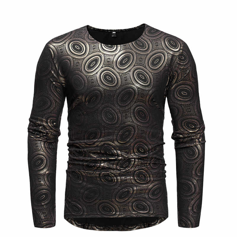 Golden Bronzing Long Sleeve T Shirt Men 2018 Autumn New African Dashiki Print Dress Shirt Mens African Clothes Tee Shirt Homme