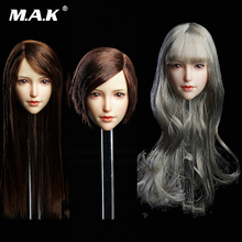 1/6 SUPER DUCK SDH017 1/6th Asian beauty Head Model Silver long curly princess head carving For PH pale color body