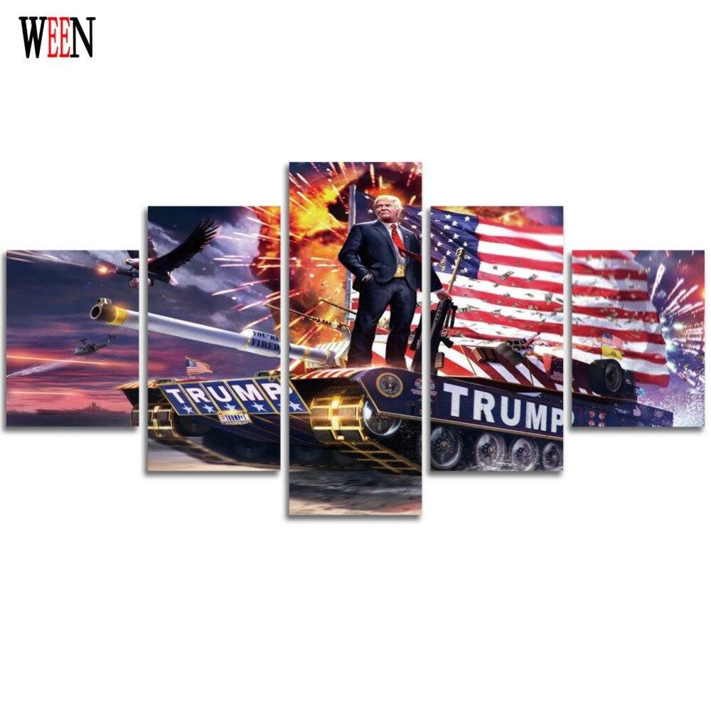Trump Amerika Dinding Untuk Ruang Tamu 5 Piece Lukisan Kanvas Mata Kucing Cat Eye Mt03 For Mt25 Seni Anak Dekorasi Poster No Bingkai Hd Dicetak