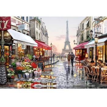 DIY 5D la pintura diamante Cruz puntada De La Torre de París calle mosaico diamante del bordado de patrones de costura de kits