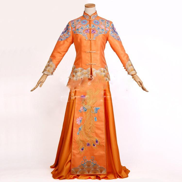 Orange Delicate Embroidery Phoenix Traditional Chinese Wedding Hanfu Bride Costume Xiu He Fu For Wedding TV Play Photography