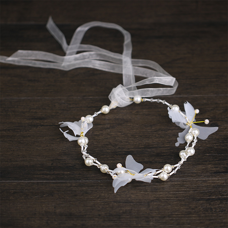White Pansy Pearl Hair Band Children's Headdress Wedding Accessories Flower Girl Headwear For Wedding Accessories