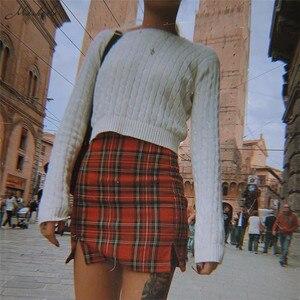 Image 2 - Macheda נשים מקרית חצאית משובץ Slim גבוהה מותן רוכסן ירך חבילת אופנה גבירותיי מיני עיפרון חצאית 2019 אביב חדש הגעה