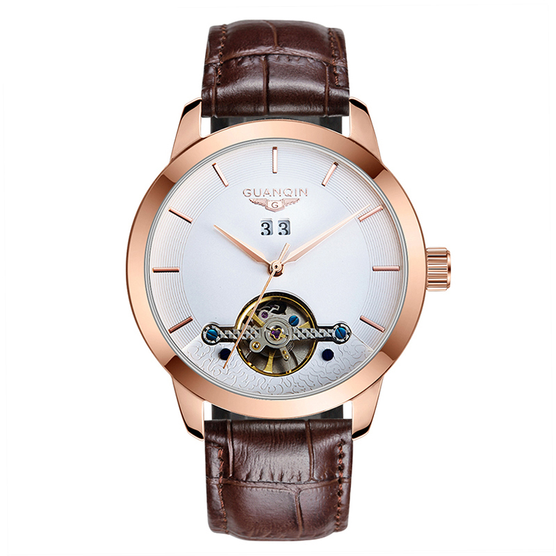 все цены на GUANQIN GJ16029 Watches Men 2017 new Arrival Fashion Luxury Brand Leather Tourbillon Wristwatches automatic Mechanical Watches