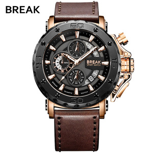 BREAK Mens Watches Top Luxury Brand Waterproof Sport Wrist Watch Chronograph Quartz Military Genuine Leather Relogio Masculino(China)