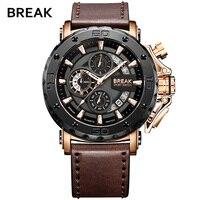 BREAK Mens Watches Top Luxury Brand Waterproof Sport Wrist Watch Chronograph Quartz Military Genuine Leather Relogio Masculino