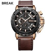 BREAK Mens Watches Top Luxury Brand Waterproof Sport Wrist Watch Chronograph Quartz Military Genuine Leather Relogio