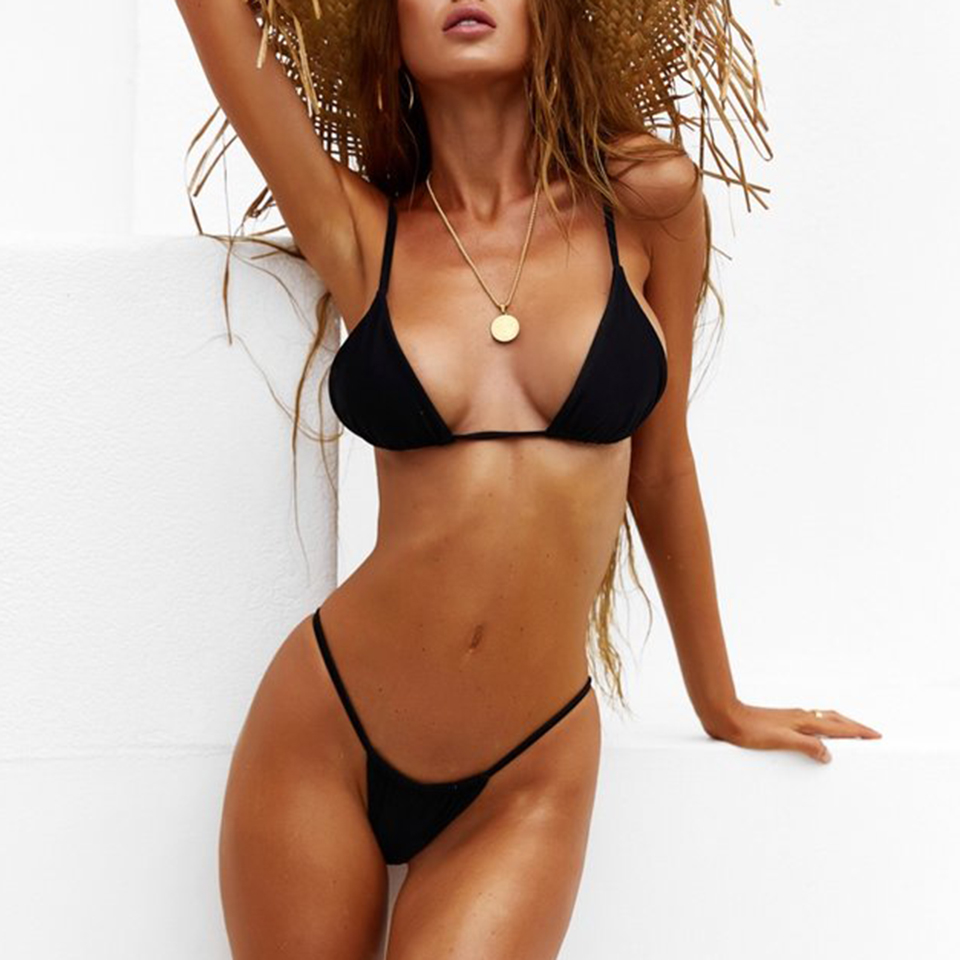 dac4f61576f77 BANDEA Bikini Women Swimsuit 2019 Sexy Thong Bikini Set Solid Black White  Swimwear Summer Push Up Micro Biquini Beach Wear-in Bikinis Set from Sports  ...
