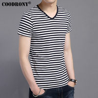 COODRONY 2017 Spring Summer New Arrival Short Sleeve Tee Shirt Men Casual Striped V Neck T