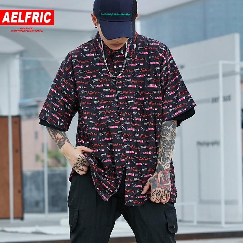 AELFRIC bilutskrift tunt skjorta Slim Fit kortärmad tröja män 2018 - Herrkläder