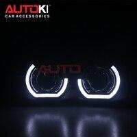 AUTOKI New X5 R 2.0 Sports LED Angel Eyes+ Bi Xenon Lens Projector For Car Retrofit Daytime Running Light 2.5/3.0 H4 H7 9005
