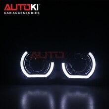 AUTOKI חדש X5 R 2.0 ספורט LED מלאך עיניים + Bi קסנון עדשת מקרן לretrofit מכונית בשעות היום ריצת אור 2.5 /3.0 H4 H7 9005