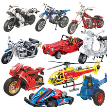 цена на Technic Motorcycle Moto Building Blocks Sets Bricks Model Kids Classic Toys For Children Gifts Compatible With Legoings City Car