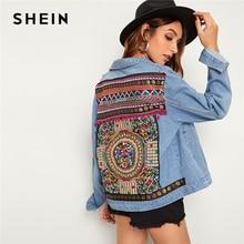 SHEIN azul bordado bolsillo trasero Denim primavera chaqueta abrigo mujer otoño 2019 Streetwear solo Breasted señoras chaquetas Casuales