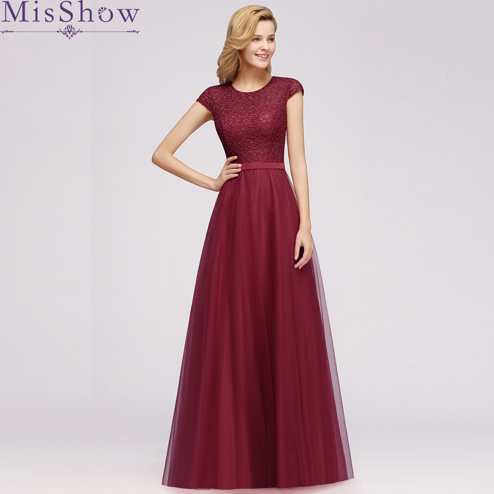 Burgundy Elegant   Prom     Dresses   Long 2019 MisShow Women's Sexy A-line Short Sleeve Scoop neck Tulle Cheap Evening Party   Prom   Gowns