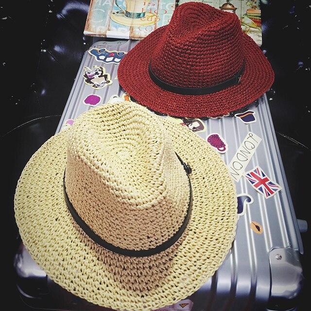 9c8d7eb1e5691 Correa suave sombrero de playa masculino de ala plegables strawhat del  sol-shading sol sombrero