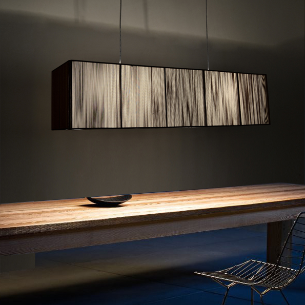 Lampes en tissu lampes suspendues rectangulaires lampes de Restaurant LED salle à manger en soie créative snack bar magasin de vêtements lampes suspendues ZA