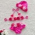 3 pcs meninas do bebê swimwear crianças natação bikinis siamese tipo saia de renda floral doce meninas do bebê maiô maiô com cap