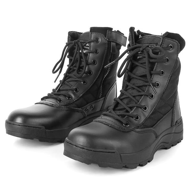 POLALI الرجال التكتيكية العسكرية الجيش الأحذية الجلدية تنفس شبكة عالية أعلى عارضة الصحراء العمل أحذية رجل SWAT الكاحل القتالية التمهيد
