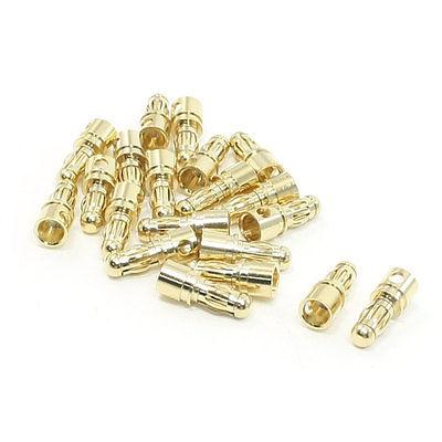 20 Pcs Gold Tone Metal RC Banana Bullet Plug Connector Male 3.5mm imc hot new 20 pairs gold tone metal rc banana bullet plug connector male female 4mm