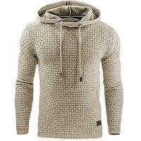 Hoodies Men 2018 Brand Male Long Sleeve Solid Color Lattice Hooded Sweatshirt Mens Hoodie Tracksuit Sweat