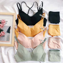 Sexy Full Lingerie fashion Underwear Set Push Up seamless Bra sets 4 Colors thin cup simple Bra and panty sets cross shoulder